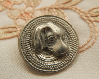 Dog Head of Molded Pewter - Gary Gerber Studio Button