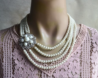pearl brooch necklace, four strands pearl necklace,rhinestone brooch necklace,bridesmaids necklace,glass pearl necklace, statement necklace