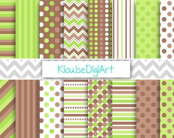 Bright Green and Dark Brown Digital Scrapbooking Papers with Stripes, Chevrons and Polka Dots for Personal and Commercial Use (0101)