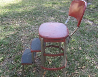 Vintage Red Cosco Metal Step Stool, Step Chair, Stool Step Ladder, Folding Step Stool, Kitchen Stool, Photo Prop