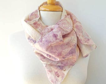 Lilac Wool Silk and Wool Scarf - Pale Pink Silk Scarves - Nuno Felt -  Pink Lavender