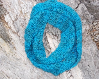 teal aqua infinity scarf color changing crocheted cowl