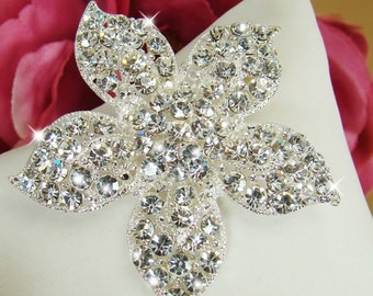 Wedding or Special Occasion Rhinestone flower on Alligator Clip or Brooch Pin - Ready to ship in 3-5 Business Days