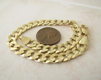 Solid 14K Gold Curb Link Bracelet, 8.5  inches, 7 mm wide
