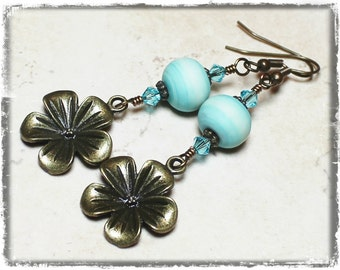 Magnolia in May... Handmade Beaded Jewelry Earrings Aqua Blue Lampwork Glass Crystal Charm Antique Brass Lightweight Flower Floral Dangle