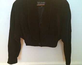 Vintage 90's Black Suede Cropped Jacket by WILSON LEATHER