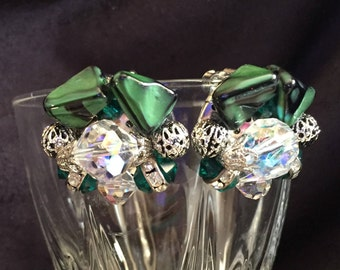 Green Crystal clip on cluster earrings rhinestone mid-century  excellent condition button
