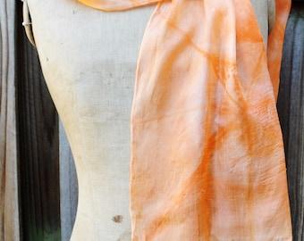 "Itajimi Shibori,silk scarf, folded silk clamp-resist dyed scarf, one of a kind.  Reiki infused.  Shades of orange  20"" x 70"""