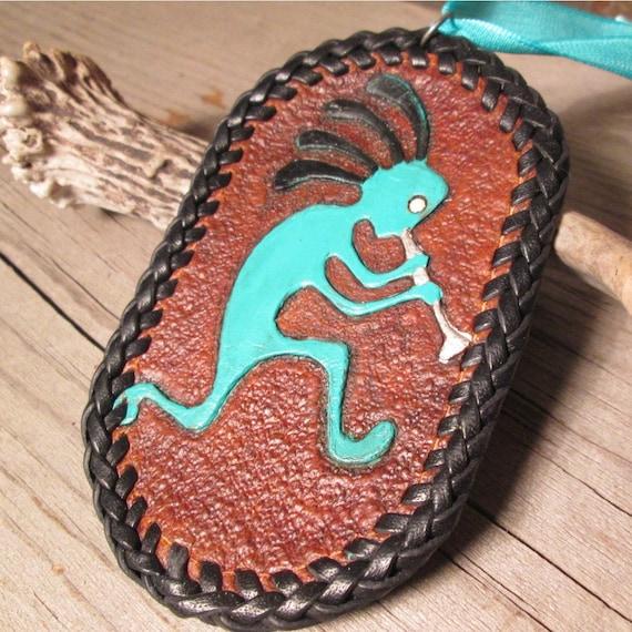 Kokopelli Tooled Leather Christmas Ornament