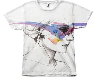 Watercolor Art All Over Subliminated Print T-Shirt Top
