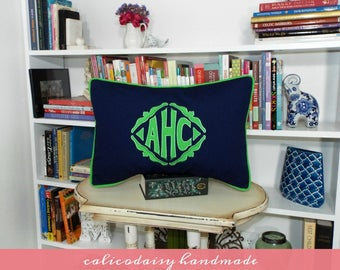 The Veronique Applique Framed Monogrammed Pillow Cover - 14 x 20 lumbar