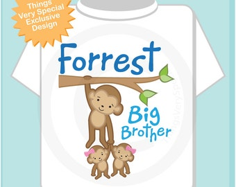 Monkey Big Brother to Twins Shirt - Big Brother Shirt - Big Brother Announcement Shirt - Big Brother Gift - Personalized gift  (08152012a)