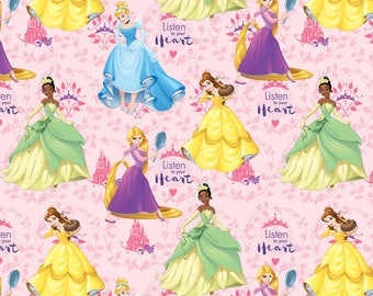 Disney Fabric Princess Listen to Your Heart Cinderella Rapunzel Belle Tania Fabric From Springs Creative 100% Cotton