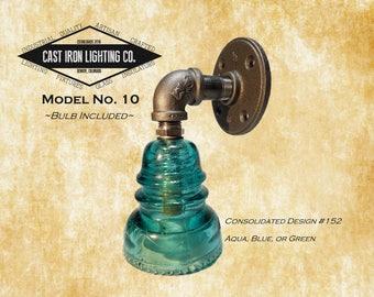 Glass Insulator Pipe Light ~ Aqua ~ Wall Sconce ~ Surface Mount Fixture ~ Iron Pipe ~ Industrial ~ Hemingray 40 Insulator
