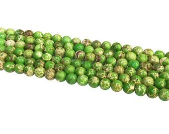 1Full Strand Green Impression Jasper Beads ,8mm 10mm Wholesale Gemstone For Jewelry Making