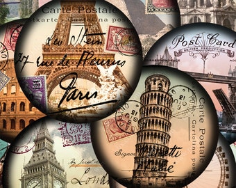Set of TWO World Tour Digital Collage Sheets 2.5 Inch Circles Vintage French Paris London Italy Pyramids Europe Egypt piddix 875 and 876
