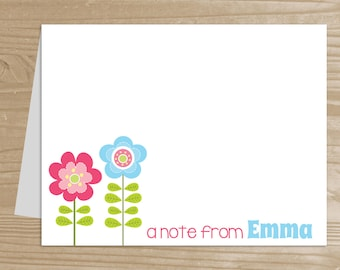 Personalized Kids' Note Cards - Set of 10 Flower Notecards for Girls - Folded Note Cards with Envelopes - Custom Flower Notecards