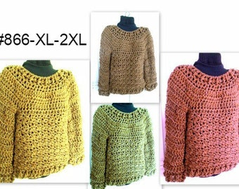 CROCHET PATTERN, Pullover Sweater,Chunky OverSized Sweater, Women's Clothing, for women,  Plus size: #866-XL-2XL, circular Quick and Easy