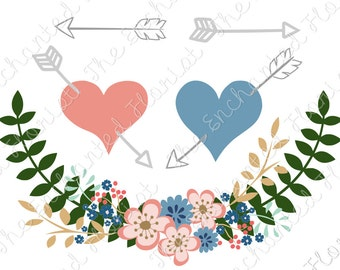 Floral Laurel SVG, Hearts and Arrows cutting files, Flower svg, Valentines cutting plotter files, Cricut, Silhouette, svg, eps, dxf, png