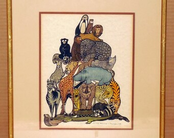 "1980's E. Farrington ""Animal Pyramid"" Pen Ink Watercolor Mixed Media Illustration Art Original Art Signed Dated Numbered Mid Century"