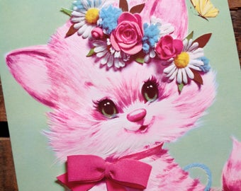 Vintage Pastel Pets Oversized Pink Kitten Greeting Card - Unused - Vintage Get Well Card, Thinking of You
