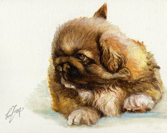 Original Oil DOG Portrait Painting PEKINGESE PUPPY Art from Artist
