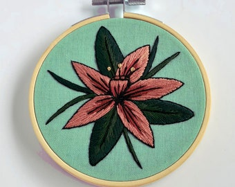 Tropical Orchid // Hand Embroidery Art // Floral Decor // Gift for Her // Housewarming // Home Decor
