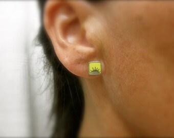 Enamel sun stud earrings 925 solid  sterling silver - sunshine - soleil - sun post earrings - yellow sun stud earrings - color sun earrings