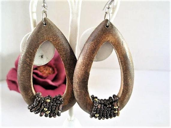 Long Wood Earrings, Wooden Hoops,  Beaded Boho Pierced, Wire Earrings