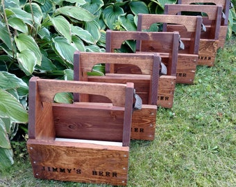 Groomsmen Gift Set of 6 Personalized Rustic Beer Carriers - Beer caddy with opener and free freezable insert - Bottles or cans
