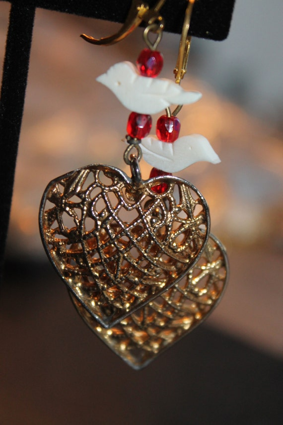 """Dangle Earrings """"Hearts"""" Gold Vintage assemblage Repurposed, hand carved birds, filigree hearts, OOAK, Religious Jewelry"""