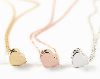 Tiny Simple Heart Necklace - Dainty Necklace for Daughter - Gold Tiny Heart Necklace - Rose Gold Tiny Heart Necklace - Sister Xmas Gift