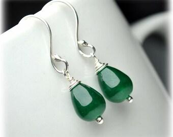 Natural Jade Earrings, Sterling Silver Earrings, Green Earrings, Small Dangle Earrings, Drop Earrings, Handmade Jewelry, Gift for Mom