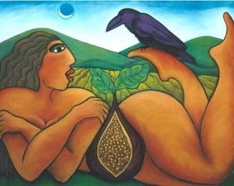 Reclining Fig with Raven