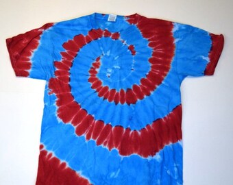 American Pie Spiral Tie Dye T-Shirt  (Fruit of the Loom Heavy Cotton HD Size L) (One of a Kind)