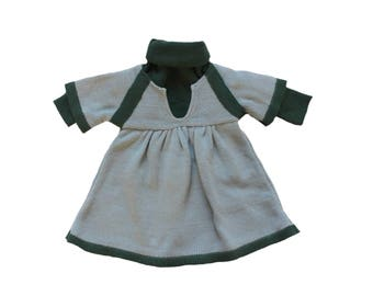 FRENCH VINTAGE 70's / baby girl / dress + sweater / green acrylic knit / NOS / size 6 months
