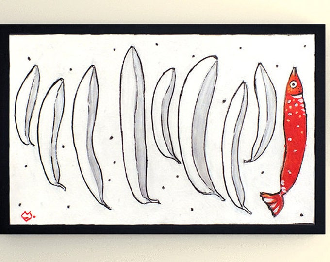 Bananas - graphic acrylic painting on paper