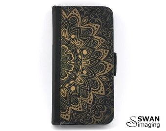 Mandala Wallet Phone Case - iPhone X, iPhone 8, 8 Plus, 7, 7 Plus, 6/6S, 6/6S Plus, SE, 5/5S - Samsung S5, S6, S7, S7 Edge, S8, S8 Plus