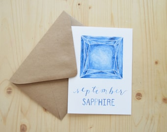 September Birthday Card - September Birthstone Card - September Sapphire Card - Sapphire Birthday Card - Watercolor Birthday Card