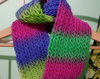 Blue/Green/Pink Infinity Scarf/Cowl