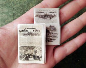 miniature newspaper, dollhouse study, dollhouse newspaper, victorian dollhouse, mini newspapers set of 2, twelfth scale, dollhouse ephemera
