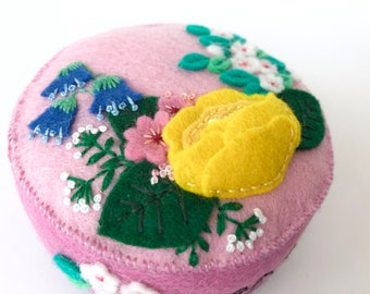 hand embroidered felt pincushion in vibrant contemporary colors