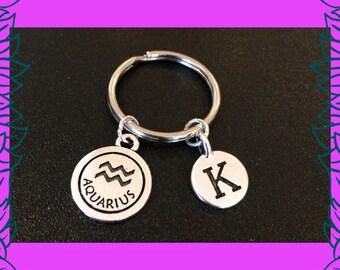 January birthday gift, February birthday gift idea, Aquarius star sign keyring, personalised zodiac charm keychain, initial K, handmade UK