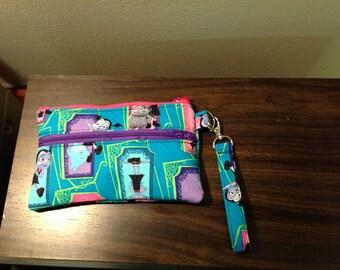 Vampirina double zipper pouch wristlet, little girl wristlet, teal Vampirina pouch, kids double zip pouch