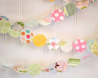Pastel Easter Spring Fabric Circle Garland bedroom, nursery, decor, photo prop, baby shower party decor 12 feet