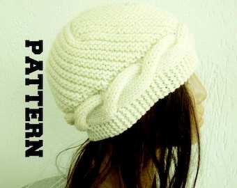 Instant Download Knit hat pattern- Digital  Hat Knitting PATTERN PDF - Cable Knit hat   - Cloche Hat Knit Pattern retirement gift for woman