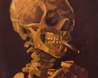 Van Gogh - Skull with Lit Cigarette -  Beautiful art print - surprising cool gift for artists art lovers  - 16 by 20 print wall art framed