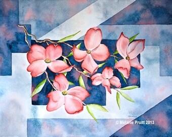 Dogwood Tree ORIGINAL 12x16 Spring Bloom Watercolor Painting by Melanie Pruitt EBSQ