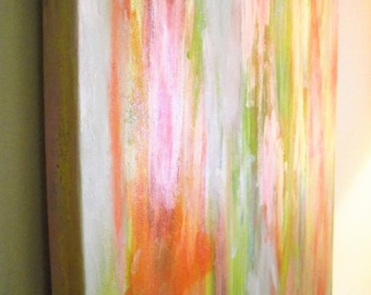 Abstract Wall Art Orange Yellow Pink lime SPRING Acrylic Canvas Contemporary Modern 12 x 36 Office Home Decor Room Multicolor