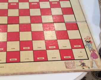 Antique Chess for Juniors 1963 Selchow & Righter Co. , Chess board, Children's Game Board, Art work, Vintage Gameroom decor , Large board